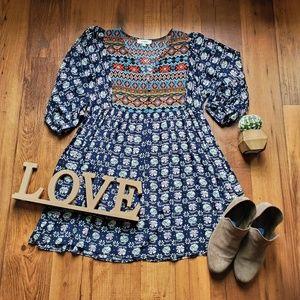 Umgee • Contrasting Print Boho Dress